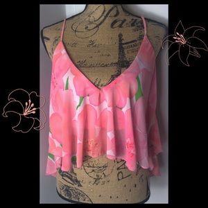 Sabo skirts Floral spaghetti strap flowy crop top
